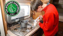 Der Dampfdrucktopf von GSI spart Zeit und Gas. Durch ein nützliches Sicherheitssystem verhindert der Topf Verbrühungen.