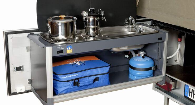 Der Hamburger Hersteller für Zelt-Anhänger präsentiert auf dem Caravan Salon in Düsseldorf ein neues Küchenmodul