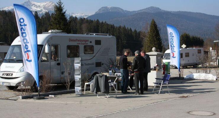 Mit einem Reisemobil reist ein Webasto-Team vom 20. bis 24. Februar 2012 durch Deutschland, Österreich, Italien und die Schweiz