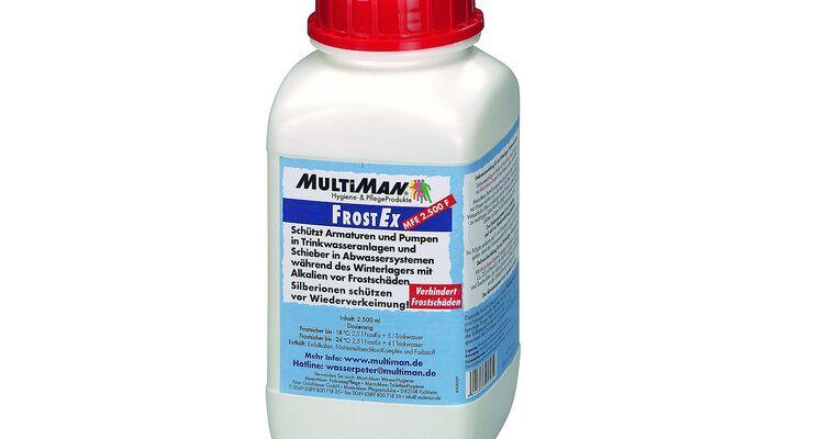Multiman gibt Wintertipps und empfiehlt FrostEx zum Frostschutz der Trinkwasser- und Abwasseranlagen im Winterlager.
