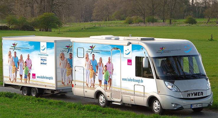 """Seit April ist ein Hymer B 680  Mobilitätspartner für die bundesweite Gesundheitsaktion """"Laufen bewegt"""""""