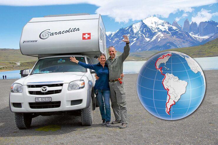 Willi und Katrin Mohler mit ihrem Pick-up-Camper die Welt.