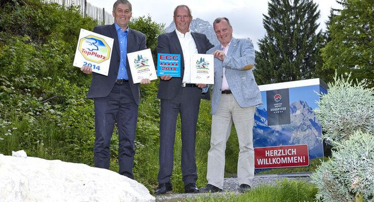 Zur offiziellen Eröffnung der Ganzjahresanlagen Camping Resort Zugspitze, Camping Erlebnis Zugspitze und Wohnmobilhafen Zugspitzblick gab es aus Zeichnungen und kamen rund 600 Gäste.